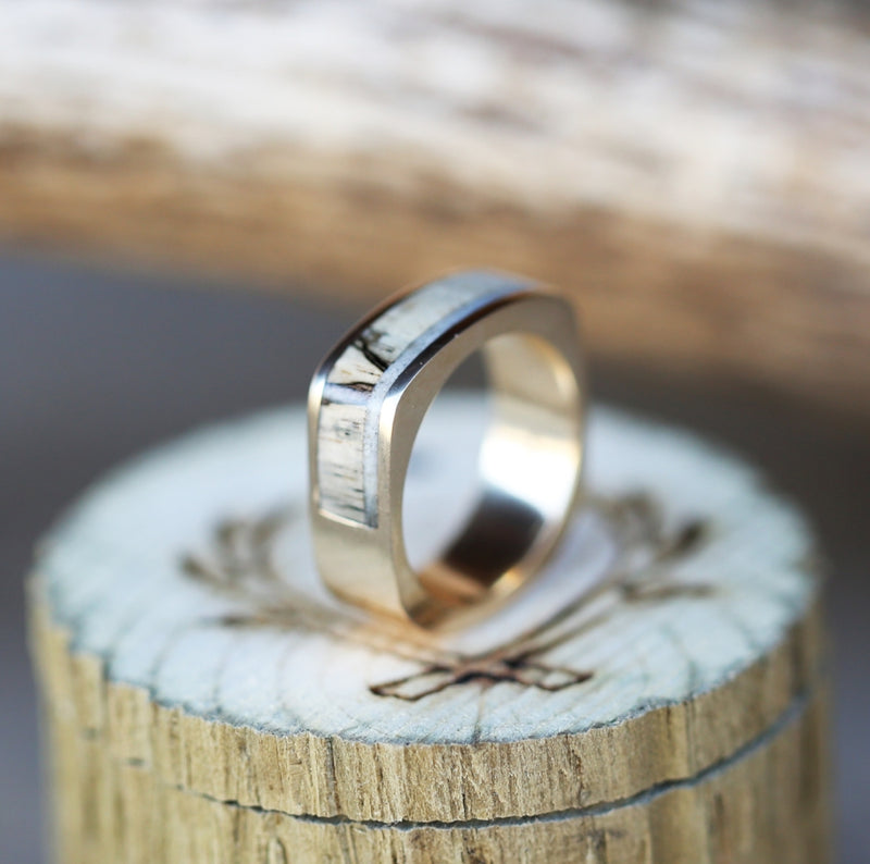 14K GOLD CUSTOM CAST WEDDING BAND FEATURING SPALTED MAPLE & ELK ANTLER (available in silver, 14K white, rose, or yellow gold) - Staghead Designs - Antler Rings By Staghead Designs