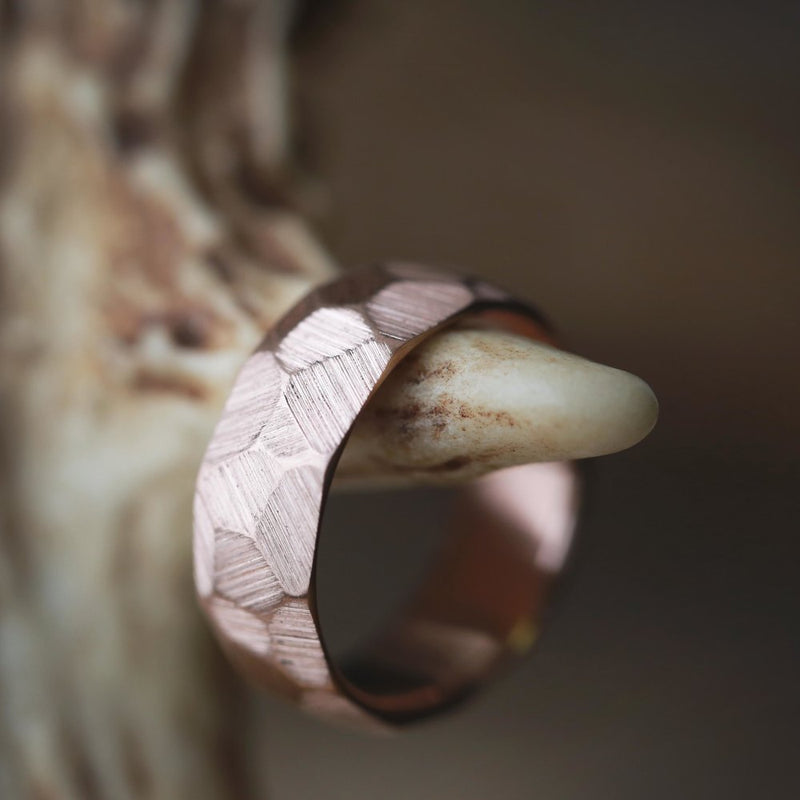 14K FACETED GOLD BAND IN RAW FINISH (available in 14K rose, white or yellow gold) - Staghead Designs - Antler Rings By Staghead Designs