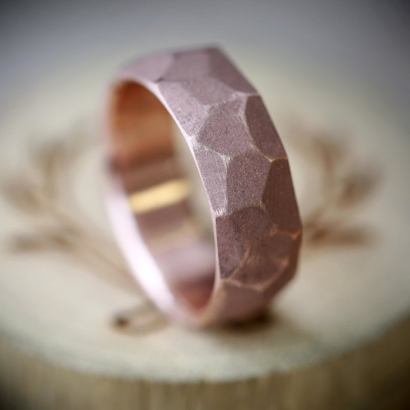 14K FACETED GOLD BAND IN SANDBLASTED FINISH (available in 14K rose, white or yellow gold) -  Custom Rings Handcrafted By Staghead Designs