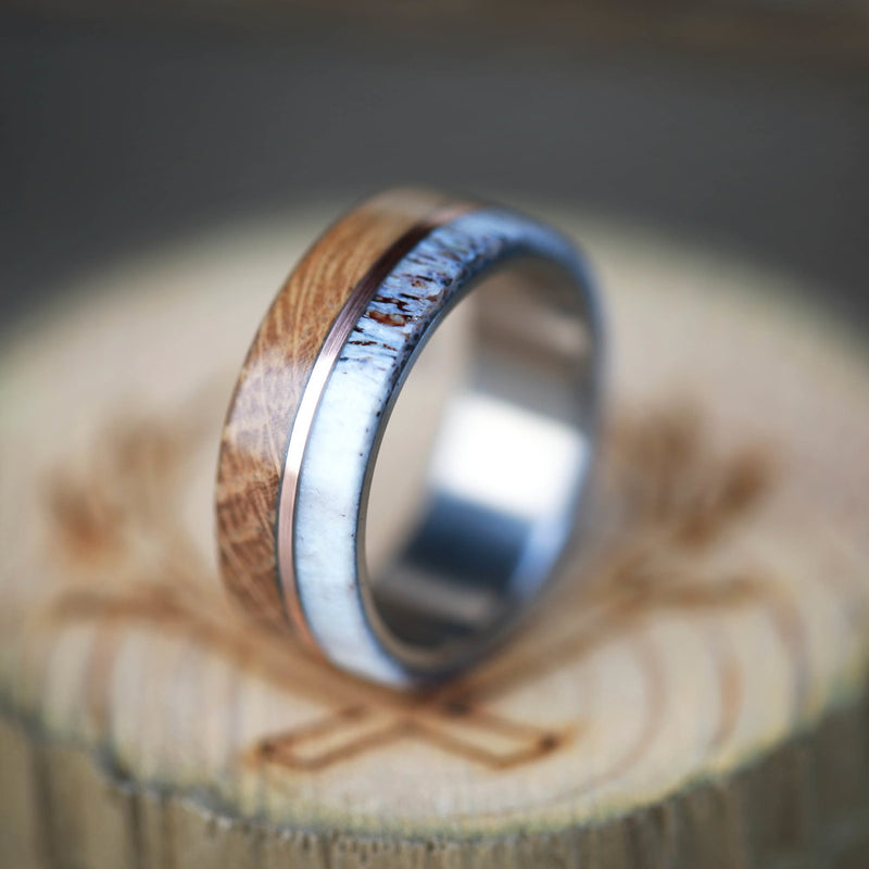 """GOLDEN"" - WHISKEY BARREL & ANTLER WEDDING BAND WITH 14K GOLD INLAY (AVAILABLE IN TITANIUM, SILVER, BLACK ZIRCONIUM & 14K WHITE, ROSE OR YELLOW GOLD) - Staghead Designs - Antler Rings By Staghead Designs"