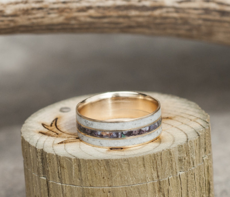 """RIO"" - MEN'S CAMO WEDDING RING WITH REAL ELK ANTLER (available in titanium, silver, black zirconium, damascus steel & 14K white, rose or yellow gold) - Staghead Designs - Antler Rings By Staghead Designs"
