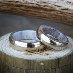 14K GOLD AND ANTLER LINED WEDDING BAND SET (available in 14K white, rose or yellow gold) - Staghead Designs - Antler Rings By Staghead Designs