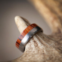 """TANNER"" IN IRONWOOD & TITANIUM (available in titanium, silver, black zirconium, damascus steel & 14K white, yellow, or rose gold) - Staghead Designs - Antler Rings By Staghead Designs"
