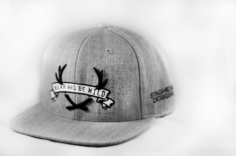 Grey and Black Staghead SnapBack - Staghead Designs - Antler Rings By Staghead Designs