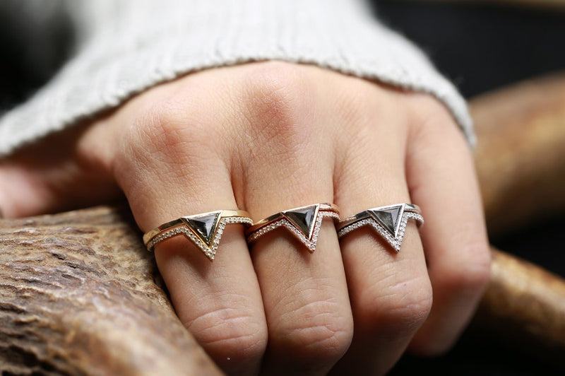 """JENNY FROM THE BLOCK"" TRIANGLE SALT AND PEPPER DIAMOND WITH V-SHAPED DIAMOND STACKER IN 14K GOLD (available in 14K white, yellow & rose gold) - Staghead Designs - Antler Rings By Staghead Designs"