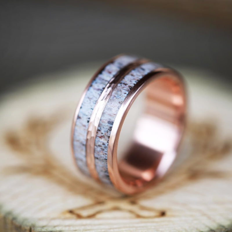 14K GOLD WEDDING BAND WITH HAMMERED ROSE GOLD & ANTLER INLAYS (available in 14K rose, white & yellow gold) - Staghead Designs - Antler Rings By Staghead Designs