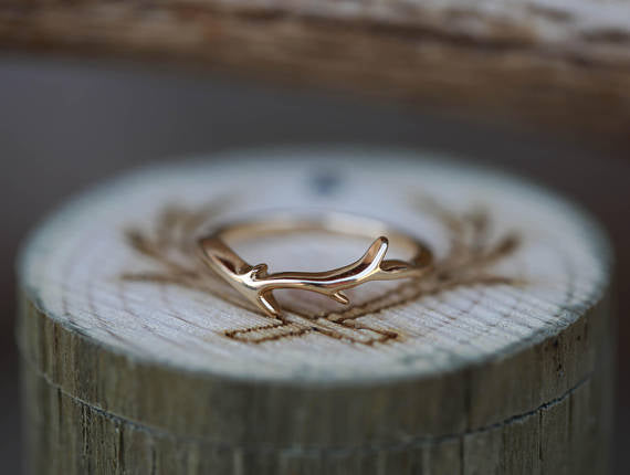 """ARTEMIS"" - SALT & PEPPER DIAMOND SET ON 14K GOLD ANTLER/TWIG STYLE WEDDING BAND (available in 14K rose, white & yellow gold) - Staghead Designs - Antler Rings By Staghead Designs"