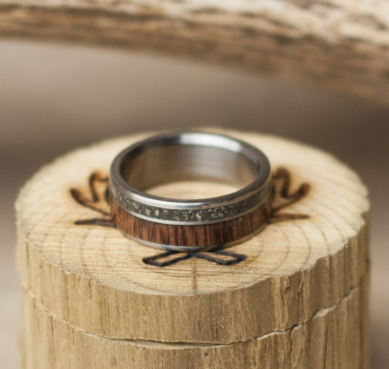 TITANIUM BAND WITH IRON ORE & WENGE WOOD INLAYS (available in titanium, silver, black zirconium, damascus steel & 14K white, yellow, or rose gold) - Staghead Designs - Antler Rings By Staghead Designs