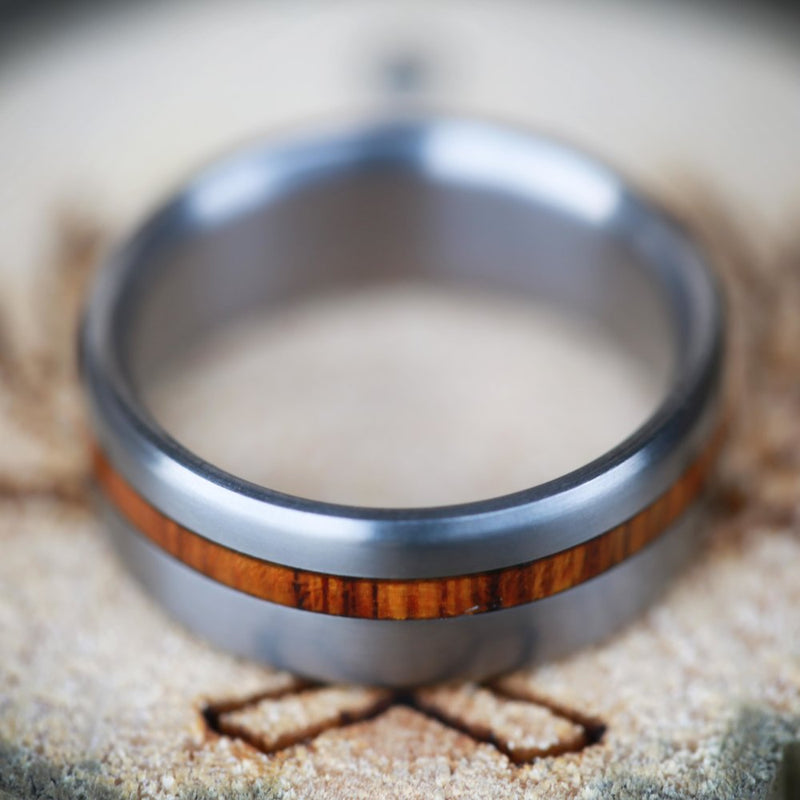 """VERTIGO"" IN TITANIUM AND OFFSET IRONWOOD - MEN'S WEDDING BAND (available in titanium, silver, black zirconium, damascus steel & 14K white, rose or yellow gold) -  Custom Rings Handcrafted By Staghead Designs"