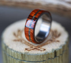 """REMMY"" IN IRONWOOD WITH OFFSET AMBER INLAY (available in titanium, silver, black zirconium & 14K white, rose or yellow gold) -  Custom Rings Handcrafted By Staghead Designs"