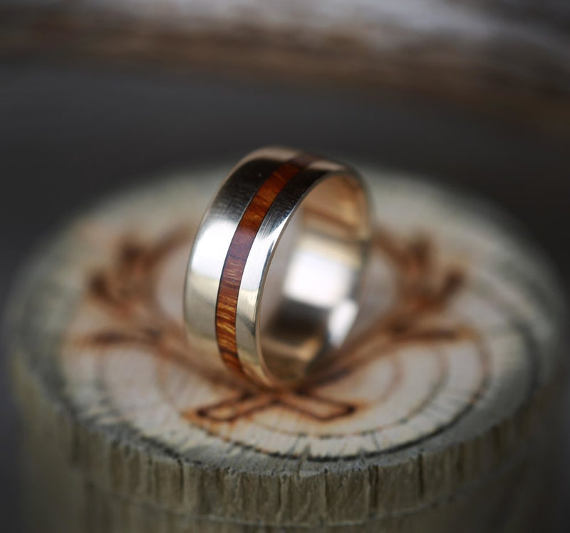 """VERTIGO"" IN 14K GOLD WITH WOOD INLAY (available in 14K white, yellow, or rose gold) - Staghead Designs - Antler Rings By Staghead Designs"
