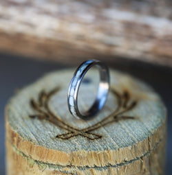 ELK IVORY STACKING RING WITH TITANIUM BAND (available in titanium, silver, black zirconium, damascus steel & 14K rose, yellow, or white gold) - Staghead Designs - Antler Rings By Staghead Designs