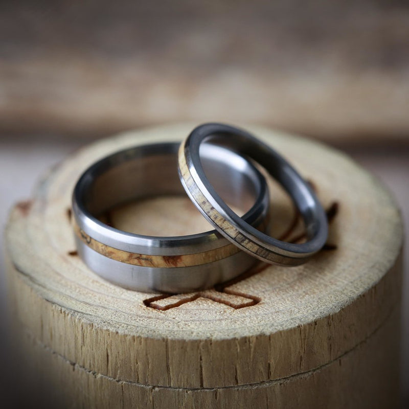 """VERTIGO"" - MATCHING SPALTED MAPLE WEDDING BANDS (available in titanium, silver, black zirconium, damascus steel & 14K white, rose or yellow gold) -  Custom Rings Handcrafted By Staghead Designs"