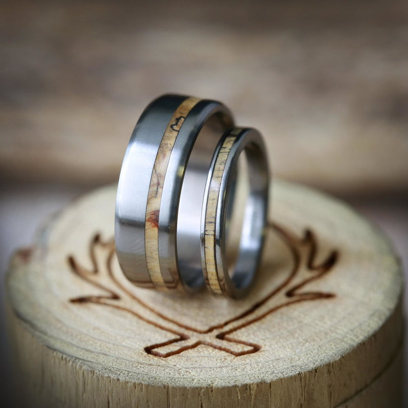 """VERTIGO"" - MATCHING SPALTED MAPLE WEDDING BANDS (available in titanium, silver, black zirconium, damascus steel & 14K white, rose or yellow gold) - Staghead Designs - Antler Rings By Staghead Designs"