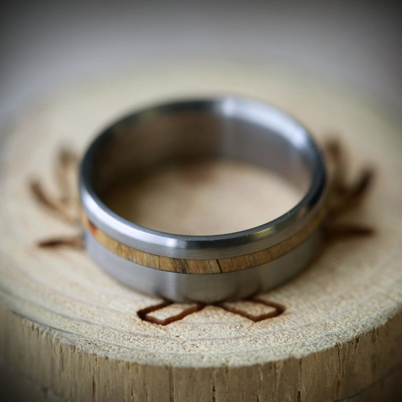 """VERTIGO"" IN TITANIUM AND OFFSET SPALTED MAPLE (available in titanium, silver, black zirconium, damascus steel & 14K white, rose or yellow gold) - Staghead Designs - Antler Rings By Staghead Designs"