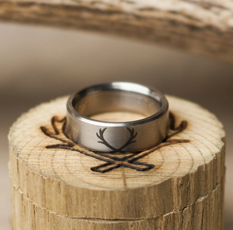 CUSTOM ETCHED WEDDING BAND (available in titanium, silver, black zirconium & 14K white, rose, or yellow gold) - Staghead Designs - Antler Rings By Staghead Designs