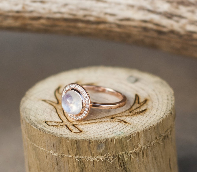 """TERRA"" IN MOONSTONE, 14K GOLD & DIAMOND HALO (available in 14K rose, white or yellow gold) -  Custom Rings Handcrafted By Staghead Designs"