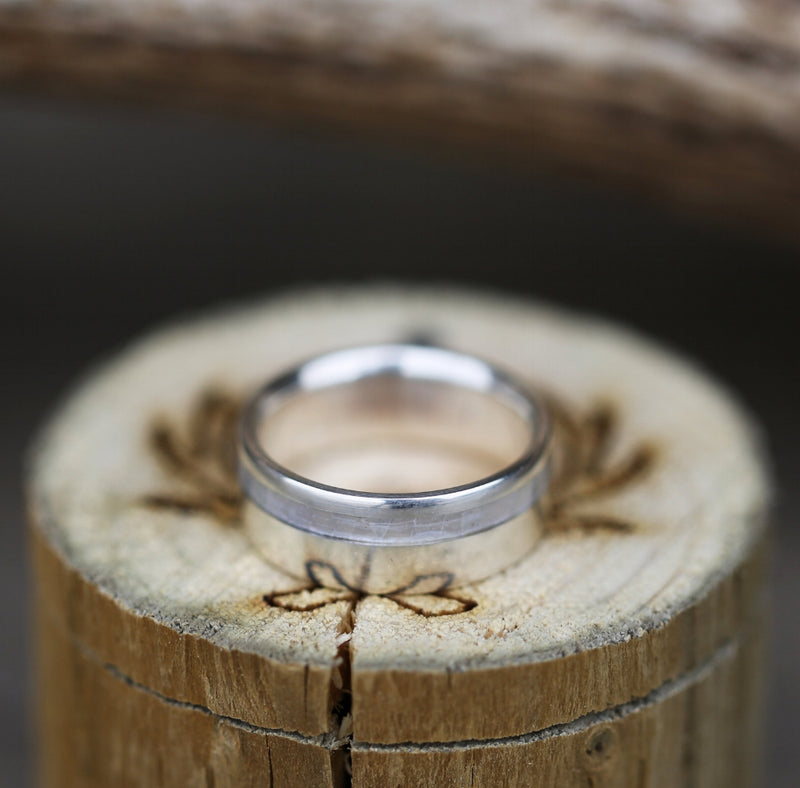 """VERTIGO"" WEDDING RING IN MOTHER OF PEARL & SILVER (available in silver, black zirconium, damascus steel & 14K white, rose, or yellow gold) - Staghead Designs - Antler Rings By Staghead Designs"