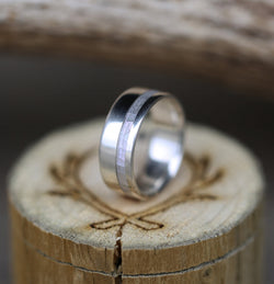"""VERTIGO"" WEDDING RING IN MOTHER OF PEARL & SILVER (available in silver, black zirconium, damascus steel & 14K white, rose, or yellow gold) -  Custom Rings Handcrafted By Staghead Designs"