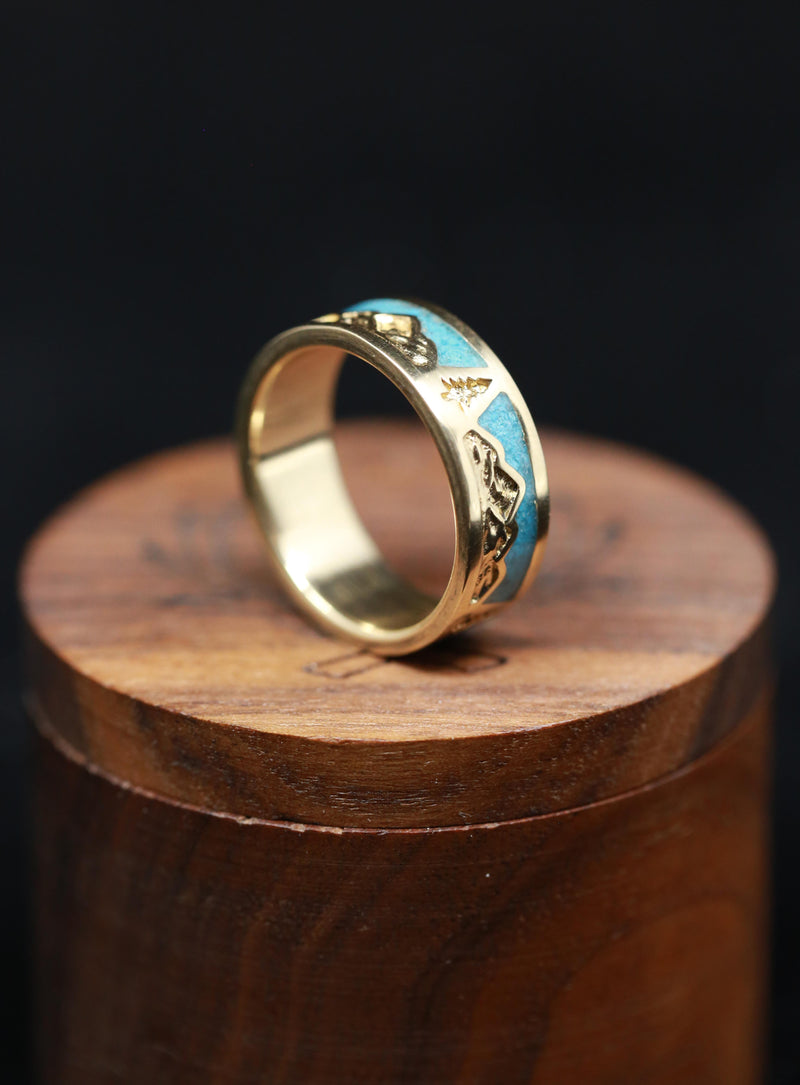 MOUNTAIN RANGE ENGRAVED RING WITH TURQUOISE INLAYS (available in silver & 14K white, rose, or yellow gold)