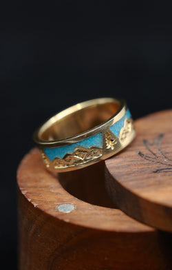 Turquoise Mountain Ring Gold Mens Band - Staghead Designs