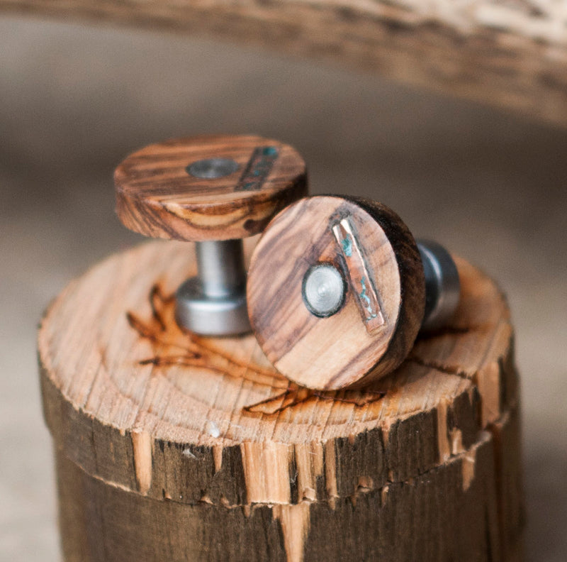 AUTHENTIC BETHLEHEM OLIVE WOOD CUFFLINKS WITH PATINA COPPER INLAYS (available with gold plated bases) -  Custom Rings Handcrafted By Staghead Designs