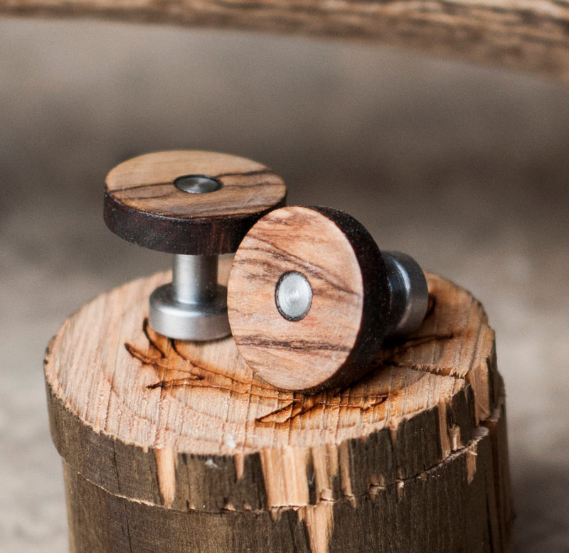 BETHLEHEM OLIVE WOOD CUFFLINKS (available with gold plated bases) -  Custom Rings Handcrafted By Staghead Designs