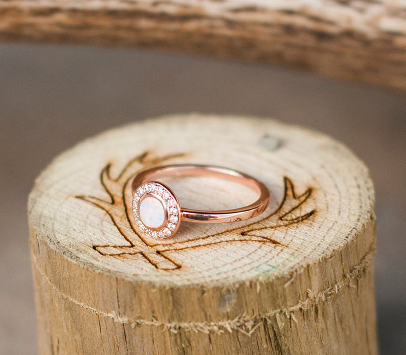 OPAL & DIAMOND ENGAGEMENT RING (available in 14K rose, white, or yellow gold) - Staghead Designs - Antler Rings By Staghead Designs