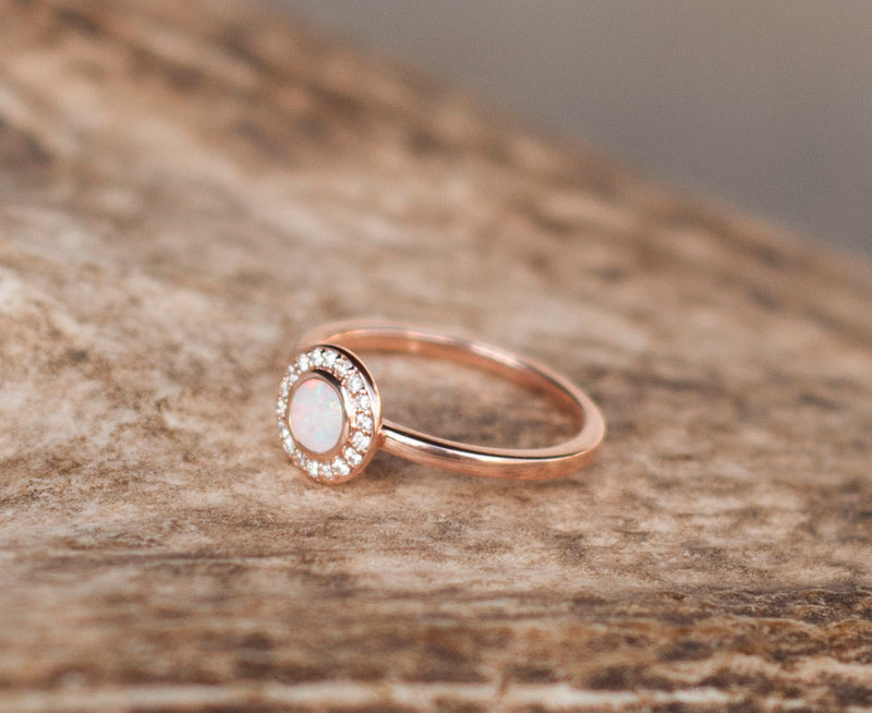 OPAL & DIAMOND ENGAGEMENT RING (available in 14K rose, white, or yellow gold) -  Custom Rings Handcrafted By Staghead Designs