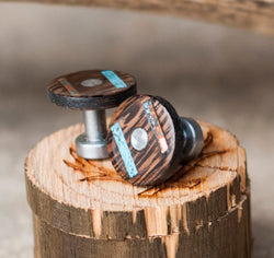 WENGE WOOD CUFFLINKS w/ TURQUOISE & PATINA COPPER INLAYS (available with gold plated bases) -  Custom Rings Handcrafted By Staghead Designs