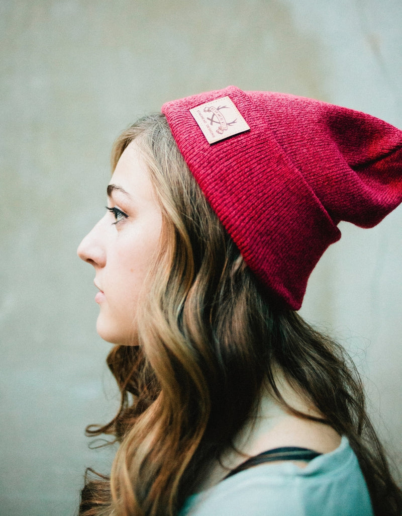 FOLDED SLOUCH BEANIE RED HEATHER - Staghead Designs - Antler Rings By Staghead Designs