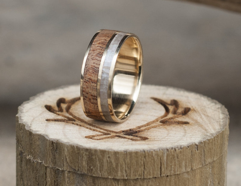 REDWOOD & MOTHER OF PEARL WEDDING BAND WITH 14K GOLD BASE (available in 14K white, rose or yellow gold) - Staghead Designs - Antler Rings By Staghead Designs