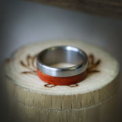 """TANNER"" IN TITANIUM & PADAUK WOOD (available in titanium, silver, black zirconium, damascus steel & 14K white, rose or yellow gold) - Staghead Designs - Antler Rings By Staghead Designs"