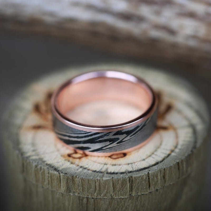 SINGLE CHANNEL DAMASCUS STEEL SET ON A GOLD BAND (available in 14K white, rose, or yellow gold) - Staghead Designs - Antler Rings By Staghead Designs