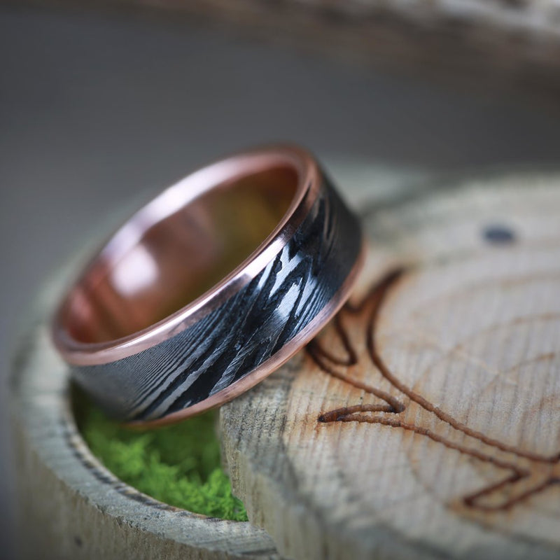 SINGLE CHANNEL DAMASCUS STEEL SET ON A GOLD BAND (available in 14K white, rose, or yellow gold) -  Custom Rings Handcrafted By Staghead Designs