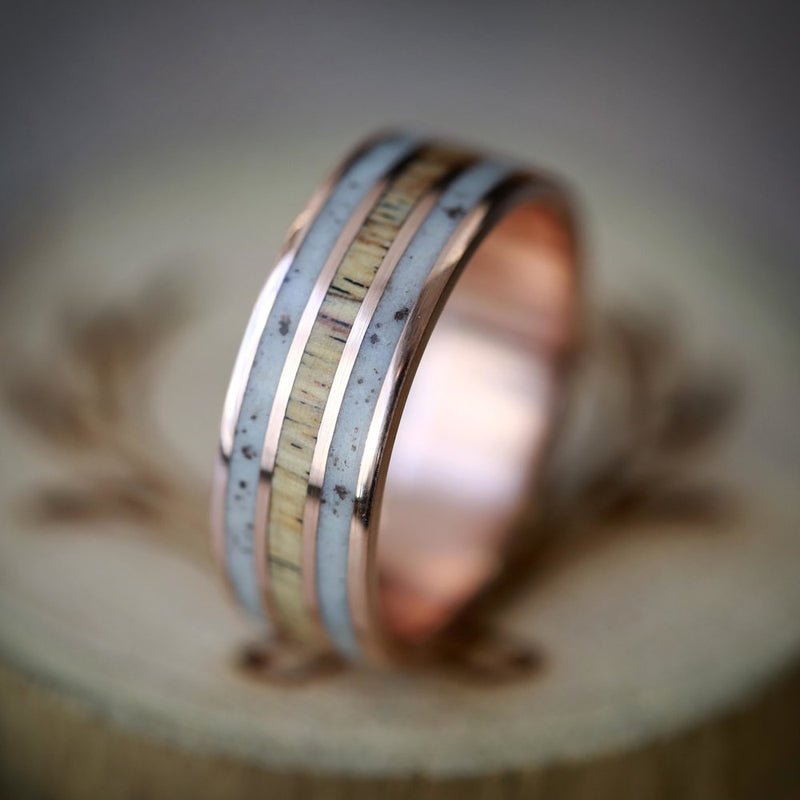 """RIO"" IN ELK ANTLER & SPALTED MAPLE HAND SET ON 14K GOLD WEDDING BAND (available in 14K rose, white & yellow gold) - Staghead Designs - Antler Rings By Staghead Designs"