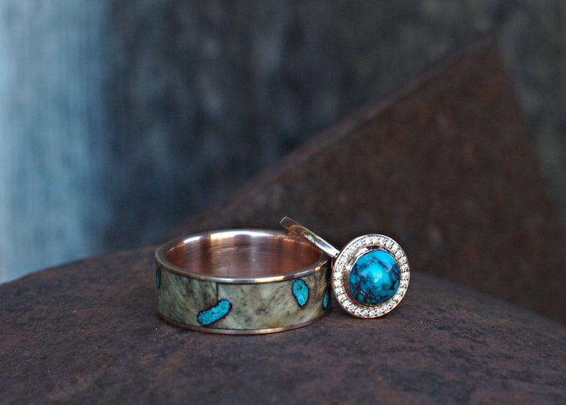 BUCKEYE BURL RING WITH TURQUOISE INLAYS (available in titanium, silver, black zirconium, damascus steel & 14K white, rose, or yellow gold) -  Custom Rings Handcrafted By Staghead Designs