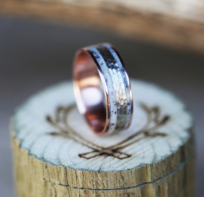 14K GOLD WEDDING BAND WITH HAMMERED WHITE GOLD & ANTLER INLAY (available in 14K rose, white & yellow gold) -  Custom Rings Handcrafted By Staghead Designs