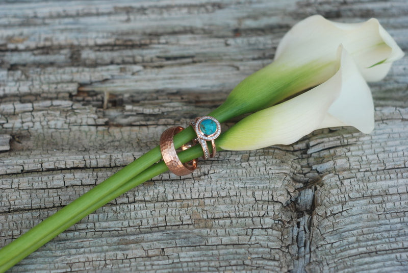 """TERRA"" ENGAGEMENT RING IN 14K GOLD & TURQUOISE WITH DIAMOND HALO (available in 14K rose, white or yellow gold) - Staghead Designs - Antler Rings By Staghead Designs"