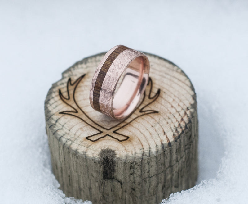 """VERTIGO"" IN CROSSHATCHED 14K GOLD & WOOD INLAY (available in 14K rose, yellow, & white gold) - Staghead Designs - Antler Rings By Staghead Designs"