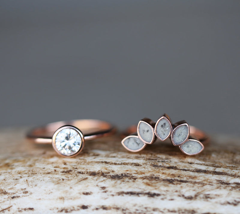 14K GOLD SOLITAIRE ENGAGEMENT RING WITH ELK ANTLER PETAL TRACER (available in 14K rose, yellow, or white gold) - Staghead Designs - Antler Rings By Staghead Designs