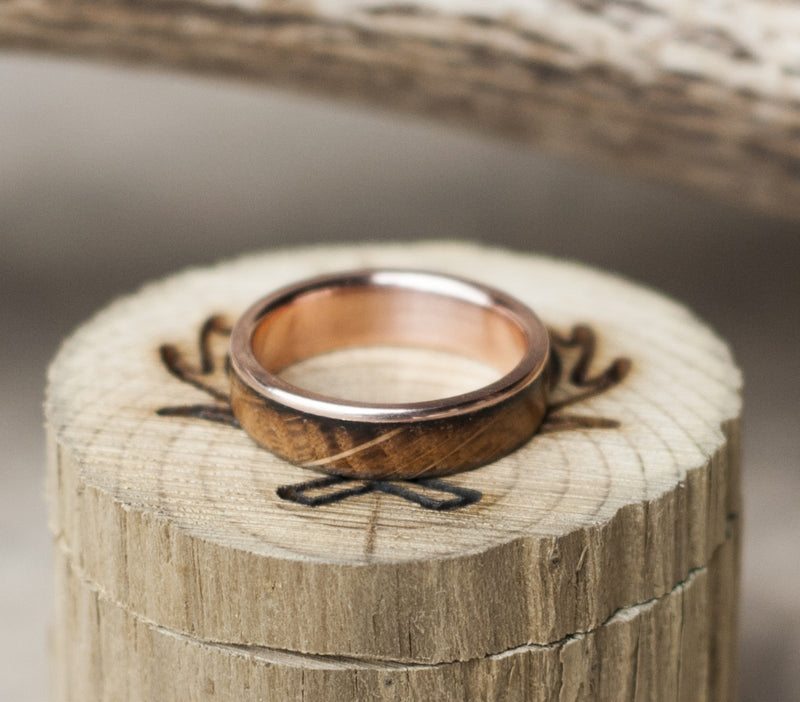 """EZRA"" IN GOLD & WHISKEY BARREL WOOD (available in 14K white, rose, or yellow gold) - Staghead Designs - Antler Rings By Staghead Designs"
