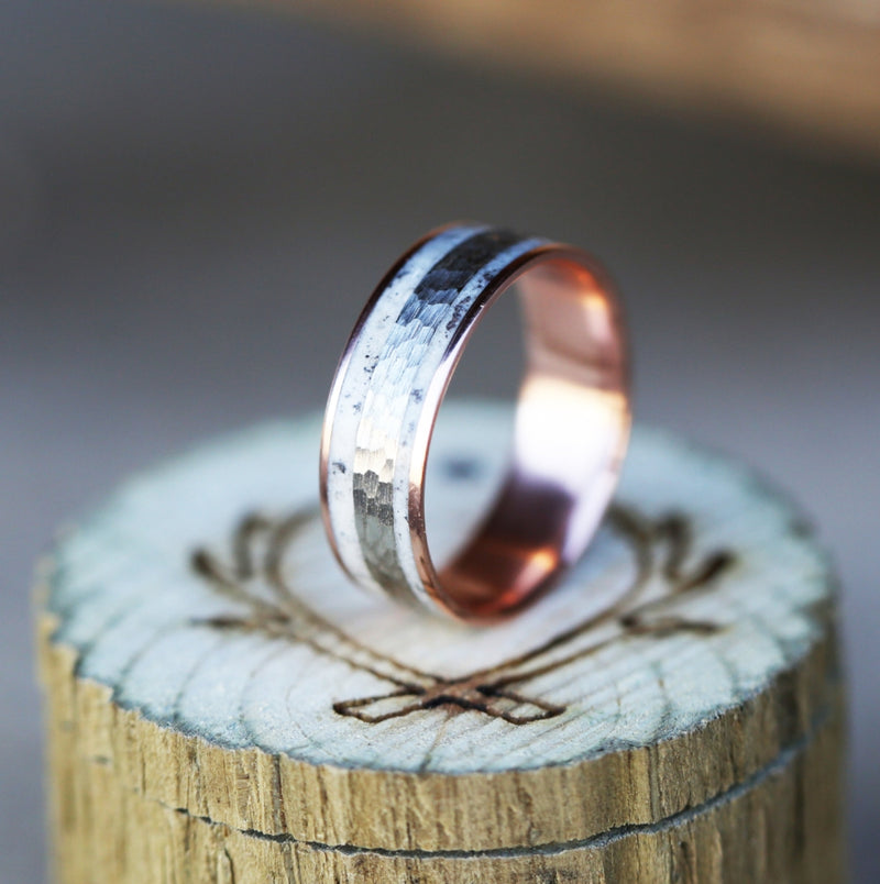 14K GOLD WEDDING BAND WITH HAMMERED WHITE GOLD & ANTLER INLAY (available in 14K rose, white & yellow gold) - Staghead Designs - Antler Rings By Staghead Designs