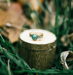 14K GOLD & NEPHRITE JADE WEDDING BAND WITH TURQUOISE & MOTHER OF PEARL INLAYS (available in 14K rose, yellow, or white gold) -  Custom Rings Handcrafted By Staghead Designs