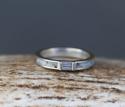 WHITE SAPPHIRE WEDDING BAND WITH ANTLER INLAY (available in silver & 14K white, yellow, or rose gold) - Staghead Designs - Antler Rings By Staghead Designs