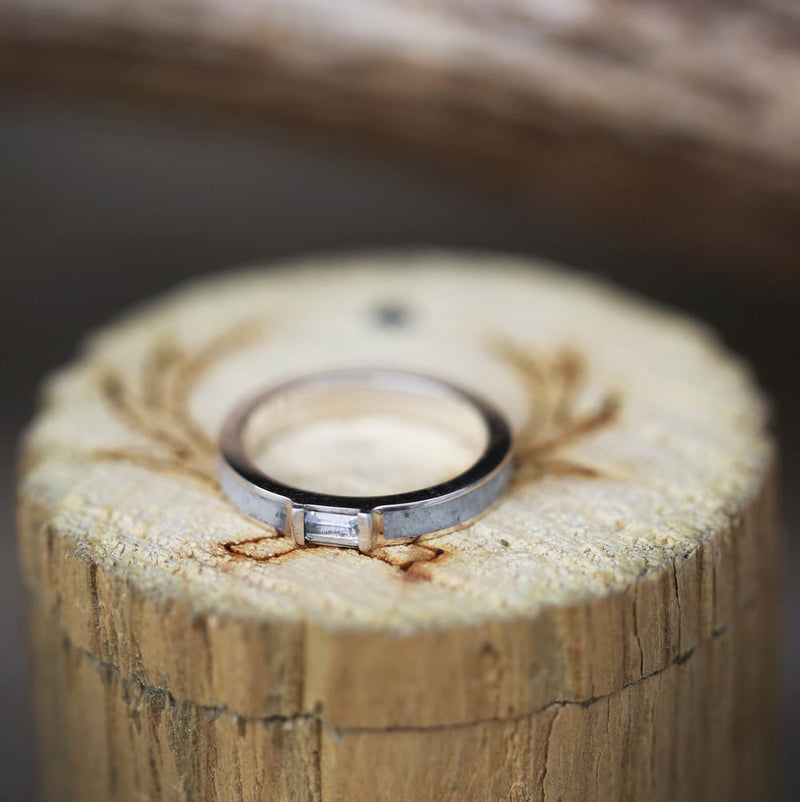 WHITE SAPPHIRE WEDDING BAND WITH ANTLER INLAY (available in silver & 14K white, yellow, or rose gold) -  Custom Rings Handcrafted By Staghead Designs