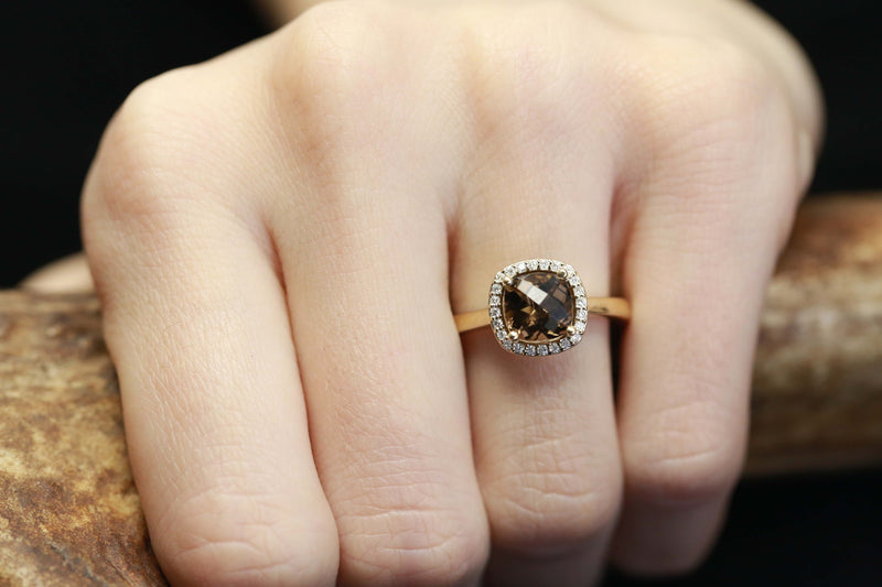 CUSTOM DESIGNED SMOKY QUARTZ ENGAGEMENT RING WITH DIAMOND HALO (fully customizable)