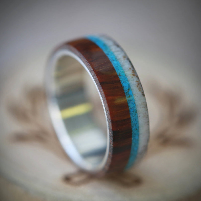 """BANNER"" IN SILVER WITH WOOD, ANTLER AND TURQUOISE (AVAILABLE IN SILVER, BLACK ZIRCONIUM & 14K WHITE, ROSE OR YELLOW GOLD) - Staghead Designs - Antler Rings By Staghead Designs"