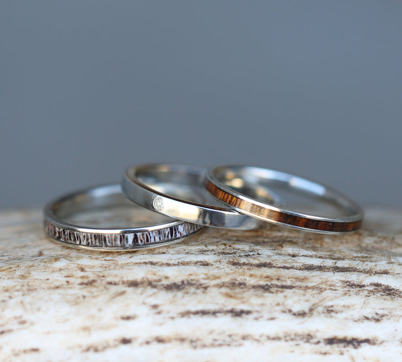 SINGLE DIAMOND STACKING WEDDING BAND ON SILVER (available with diamond, wood, antler, turquoise and other inlay options) - Staghead Designs - Antler Rings By Staghead Designs