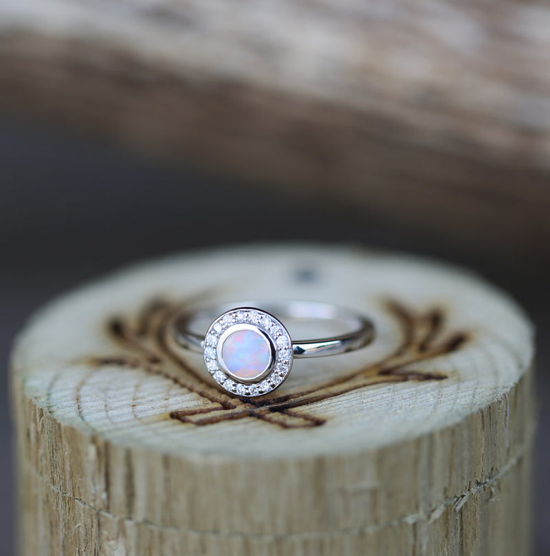 """TERRA"" IN 14K GOLD WITH OPAL AND DIAMOND HALO (available in 14K rose, white & yellow gold) - Staghead Designs - Antler Rings By Staghead Designs"